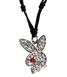 Stone Studded Rabbit Face Pendant with Black Cord