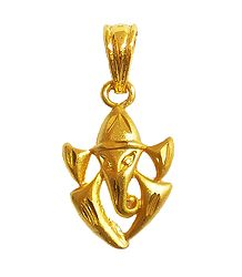 Gold Plated Abstract Ganesha Pendant