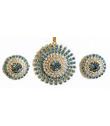 Cyan and White Zirconia Stone Studded Round Pendant and Earrings