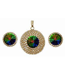 Faux White Zirconia and Mystic Topaz Pendant and Earrings