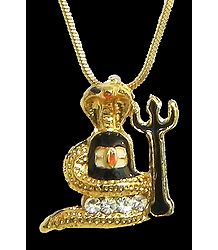 Gold Plated Pendant - Shivalinga Encompassed by a Snake with a Trident