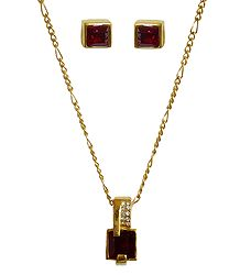 Red Stone Square Shaped Pendant