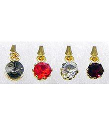 Four Multicolor Stone Studded Pendants