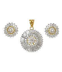 Faux White Zirconia Gold Plated Pendant and Earrings
