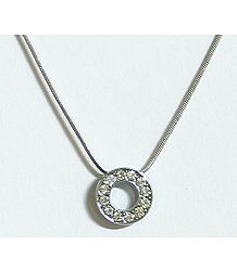 Stone Studded Alphabet O Pendant with Chain