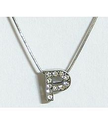 Stone Studded Alphabet P Pendant with Chain