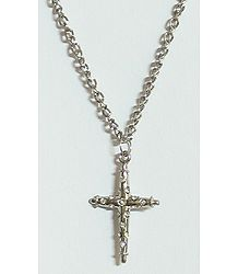 Stone Studded Cross Pendant with Chain