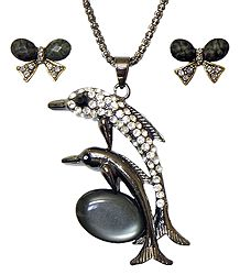 Metal Chain with White Stone Studded Dolphin Pendant and Earrings