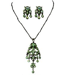 Green Zirconia Stone Studded Necklace with Black Chain and Earrings