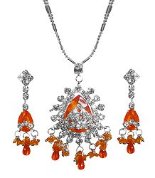 Saffron Stone Studded Pendant with Chain and Earrings