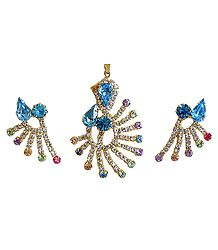 Cyan and White Zirconia Stone Studded and Gold Plated Designer Pendant and Earrings