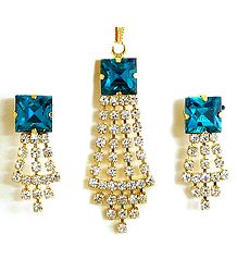 Cyan and White Zirconia Stone Studded Cascade Pendant and Earrings