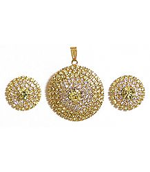 Yellow and White Stone Studded Round Shaped Pendant and Earrings