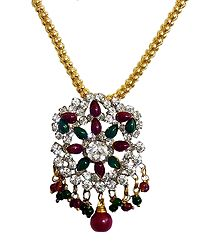 Green and Red Stone Studded Pendant with Chain