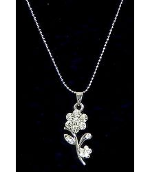 White Stone Studded Flower Pendant