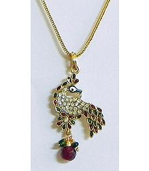 Green and Red Meenakari Peacock Pendant