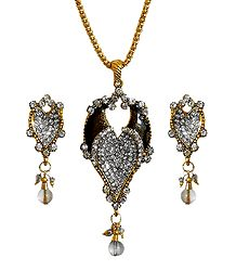 Chain with Stone Studded Pendant with Earrings