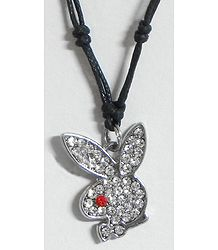 Stone Studded Rabbit Face Pendant with Black Cord and Earrings
