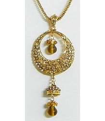 Yellow Stone Studded Pendant with Chain
