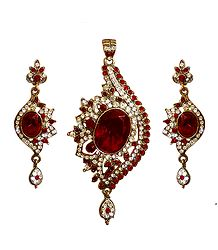 Red and White Stone Studded Pendant with Earrings