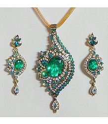 Cyan with White Stone Studded Pendant with Chain and Earrings