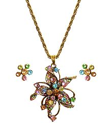 Multicolor Stone Studded Pendant with Oxidised Metal Chain and Earrings