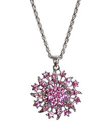 Pink Stone Studded Pendant with Oxidised Metal Chain
