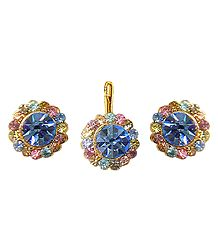 Light Blue and Multicolor Stone Studded Pendant and Earrings
