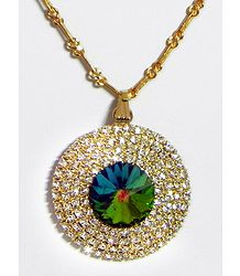 Green with White Stone Studded and Gold Plated Pendant with Chain