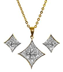 Gold Plated Chain with White Stone Studded Pendant