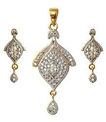 Faux White Zirconia with Gold Plated Pendant and Earrings