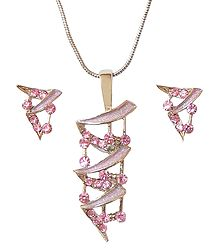 Pink Stone Studded Pendant and Earrings