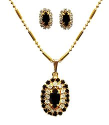Black Stone Studded Pendant with Chain and Earrings