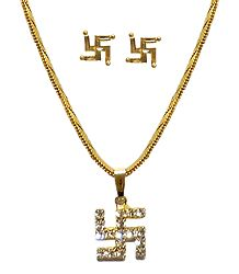 White Stone Studded Swastik Pendant with Chain and Earrings