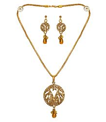 Golden Yellow Stone Studded Pendant with Chain and Earrings
