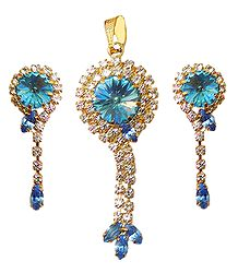 White and Blue Stone Studded Pendant and Dangle Earrings
