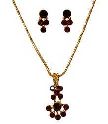 Maroon Stone Studded Pendant and Earrings