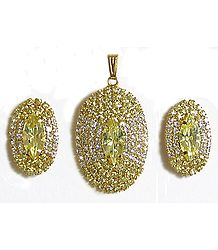 Yellow and White Stone Studded Oval Shaped Pendant and Earrings