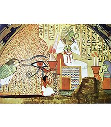 Dead Man Kneeling Before Osiris (From an Egyptian Painting)