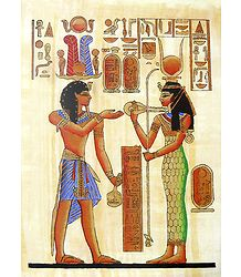 Ramses and Hathor (Reprint From an Egyptian Painting)