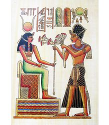 Ramses Offers Flowers to Isis (Reprint From an Egyptian Painting)