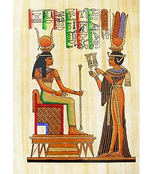 Nefertiti makes Offering to Isis (Reprint From an Egyptian Painting)