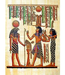 Horus with Ramses and Nefertiti (Reprint From an Egyptian Painting)