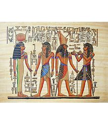Hourmoheb Presents Liquids to Horus and Hathor (Reprint From an Egyptian Painting)