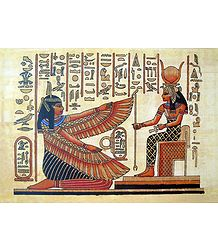 Maat Kneels Before Hathor (Reprint From an Egyptian Painting)
