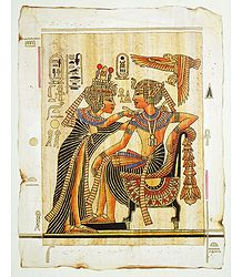 King Tutunkhamen Purifying his Wife (Reprint From an Egyptian Painting)
