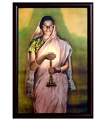 Lady with the Lamp - S.L. Halankar Painting Reprint