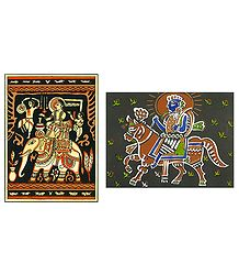 Prince on Elephant and King on Horse - Set of 2 Posters