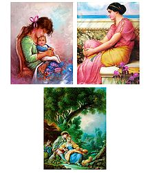 Mother and Child, European Lady and Lovers - Set of 3 Posters