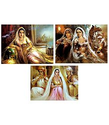 Rajasthani Women and Musicians - Set of 3 Posters